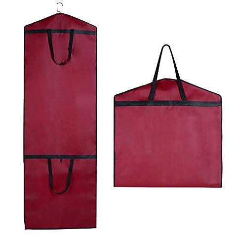 SPARKSOR Atmungsaktiver Kleidersack Schutzhülle für Brautkleider / Abendkleider / Anzüge / Mäntel - ca. 180x60x20 cm Rot