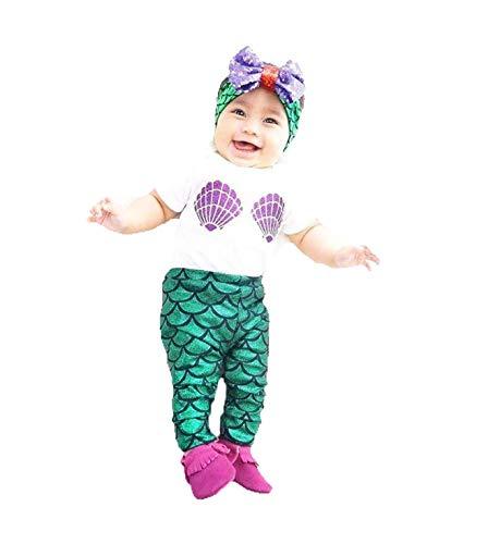 Lemonkid® Baby Kleinkind Mädchen Meerjungfrau-Outfits Playwear Top glänzend Hosen Stirnband Set 3 Stück Gr. 100 cm (12-18 Monate), weiß (Meerjungfrau Outfit Kleinkind)