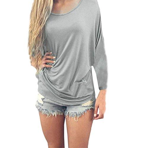 CYBERRY.M T-shirt Été Casual Femme Manches Longues Dentelle Dos Loose Blouse Tee Gris