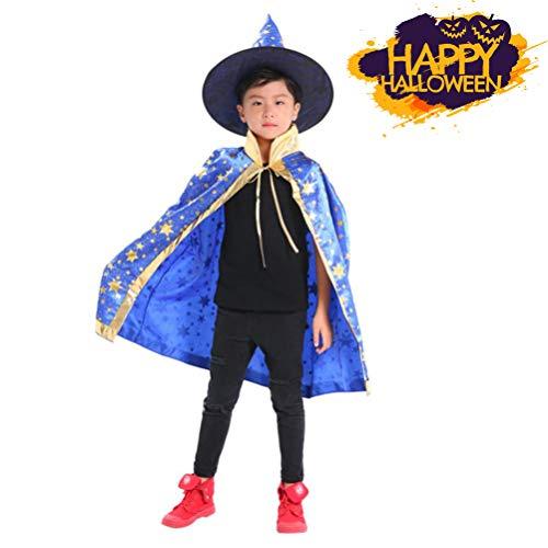 (Halloweenkostüm für Kinder,Kinder Halloween Hexe Kostüm Halloween Karneval Party Cosplay Outfits Set/ Hexe Umhang + Hexe Hut / 8 Farbe (Blau, Höhe: 100-160 cm))
