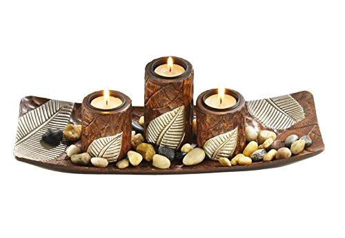 Rechteckiger Teelichthalter Dekoschale braun mit DREI dekorativen Kerzenhaltern aus Holz