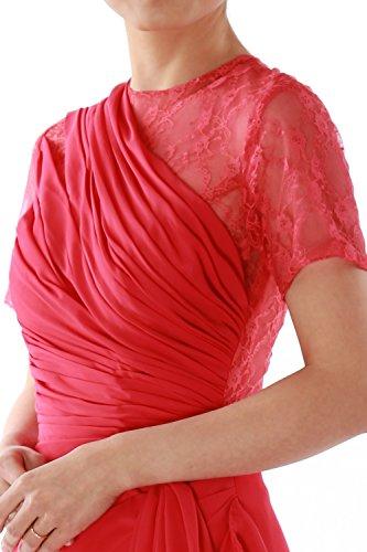 MACloth - Robe - Trapèze - Manches Courtes - Femme Rouge - Bordeaux