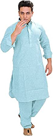 Exotic India Men's Plain Pathani Kurta Salwar with Thread Embroidery on Neck - Color Angel FallsGarment Size 36