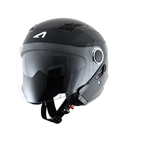 Astone Helmets fibra, Casco Jet, color Gloss Negro, talla M