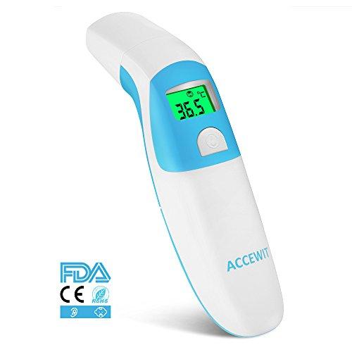 Fieberthermometer Ohrthermometer Stirnthermometer Multifunktion Professionelle 3-IN-1 digitaler Fieberthermometer Infrarot-Strahl Geeignet für Babys Kinder und Erwachsener mit 1 Sekunde Messung Zeit CE/FDA/ROHS Zertifiziert (Blau)