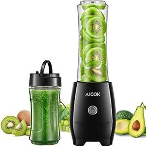 Aicok Mixer Smoothie Maker, Blender, 2 BPA-freie Tritan Sport-Flasche (600ml und 330ml), Mix & Go Mini Standmixer, für Shakes und Smoothies, Edelstahl 4-Blatt, 300W (1)