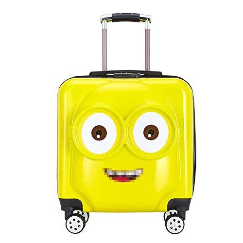 Gasgff 18-Zoll-Universal-Rad-Gelb Kinder Trolley Password Lock Boarding Chassis Abs Cartoon-Reise-Gepäck