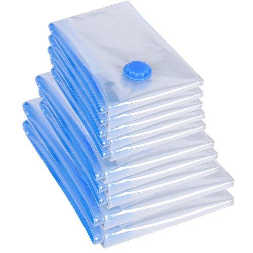 Songmics 10 pezzi sacchetti sottovuoto salvaspazio riutilizzabili, 5 media(58x78cm)+ 3 grande(68x98cm)+ 2 ultra-grande(98x128cm), per vestiti, biancheria da letto, piumoni, coperte, lenzuola, cuscini, tende rvm10t