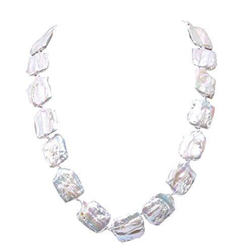 JYX Pearl Baroque Necklace 17-18mm Natural White Süßwasser Perlenkette für Hochzeit, 48,3 cm - Perle-perlen-halsketten-bulk
