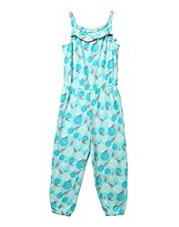 Beebay Girls 100% Cotton Knitted Marigold Printed Jumpsuit (Turq,7 Years)