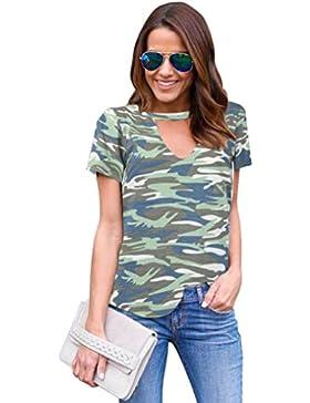Blusa, Oyedens Mujeres camiseta con cuello en V Pullover Camouflage Short Sleeve Casual Blusa