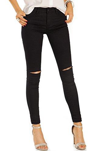 Bestyledberlin Damen Skinny Fit Jeans, Basic Ripped Knee Röhrenjeans, Zerrissenes Knie High Waist Hosen j06g S