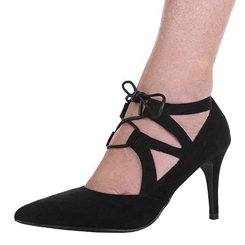 Damen Pumps Schuhe High Heels Stiletto Abendschuhe Business Club Schnürer beige schwarz rot 36 37 38 39 40 41 Schwarz