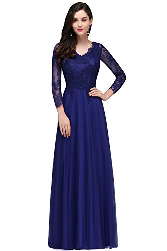 Damen Elegant A-Linie Spitzen Abiballkleid Ballkleid Perlstickerei lang Royal Blau 44