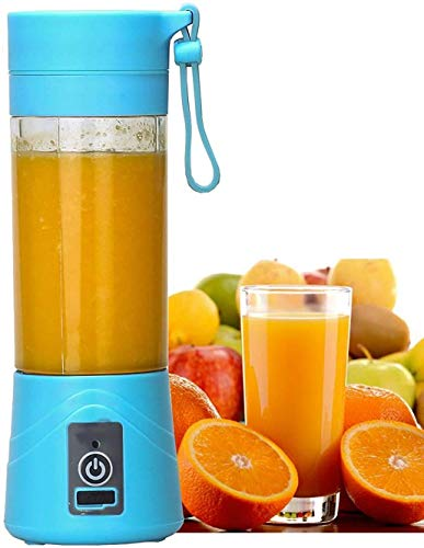 Rylan Rechargeable Portable Travel Electric Mini USB Juicer Bottle Blender for Making Juice, Shake, Smoothies for All Fruits and Vegetables (Blue)