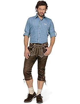 Trachtenlederhose Justin2 - schmucke Lederhose mit Paspeln und Ziernähten im Landhausstil, eine Kniebundhose in...