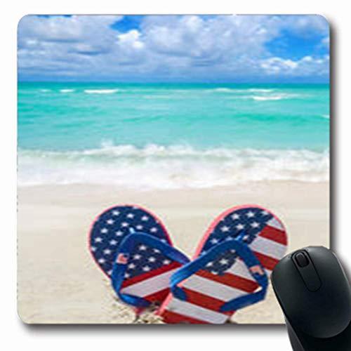 Luancrop Tappetini per Mouse Blu Patriottico USA Infradito luglio Vacanze Sandalo Oblong Gaming Mouse Pad Antiscivolo Tappetino di Gomma