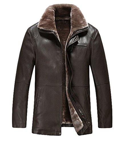 plaer hommes de plus d'hiver Manteau en velours veste en cuir épais en cuir d'agneau pour voiture Noir - Marron foncé