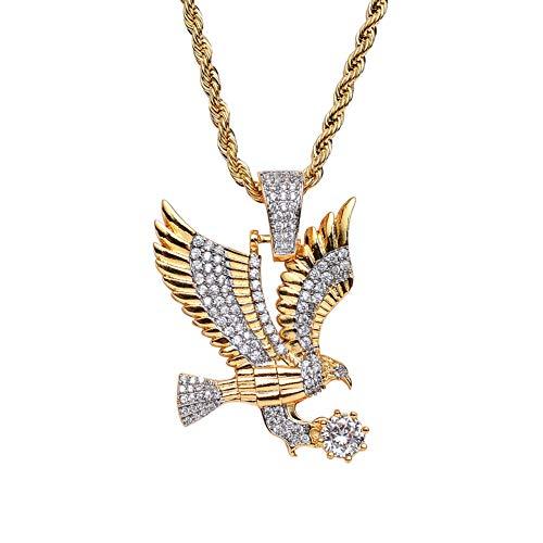 J.Memi.Men Herren Fliegender Adler Halskette Zirkonia Anhänger Überzug 18k Gold Persönlichkeit Schmuck, Gold