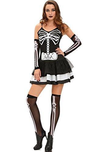 Fortuning's JDS 3pcs reizvolles schwarzes Skeleton Kleid Halloween-Maskerade-Kostüm