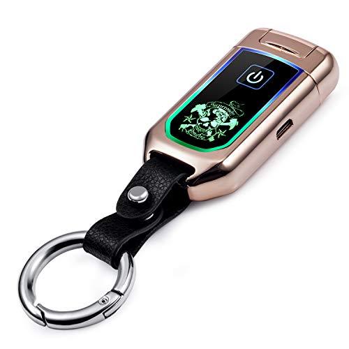 Becrowmeu électrique Briquet coupe-vent Briquet double Arc Plasma USB rechargeable avec affichage LED Puissance Keychain, or