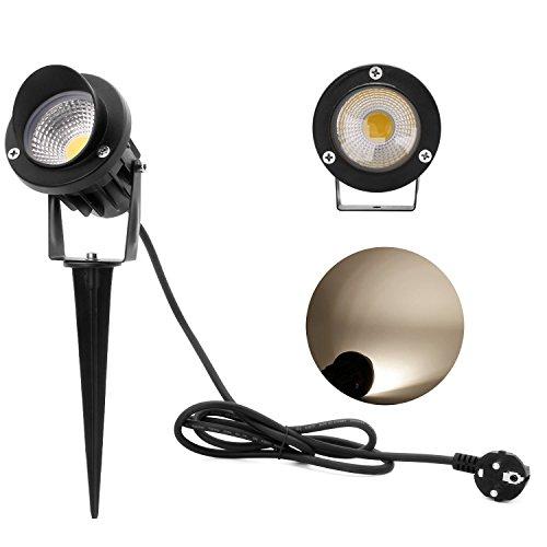 Kefflum 5W LED Gartenleuchte Scheinwerfer,230V,4200k Neutralweiß,450lm,mit Stecker Erdspieß,Rasen Licht,GUMMI 1,5m Kabel,IP65,LED Lawn Licht, Spotbeleuchtung,Bodenleuchte,Teichstrahler(1er Pack)[Energ