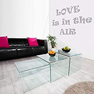 ambientica Designer Couchtische Beistelltische AIR 3 STK. Set Clear Safety Glass Wohnzimmertisch