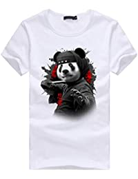 Fuibo Homme T-Shirt Men s Fashion Panda Impression Manches Courtes Chemises  Tops Blouse f93893947b93