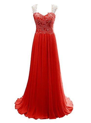 Dresstells, Robe de cérémonie Robe de soirée longue col en cœur avec appliques en dentelle Rouge