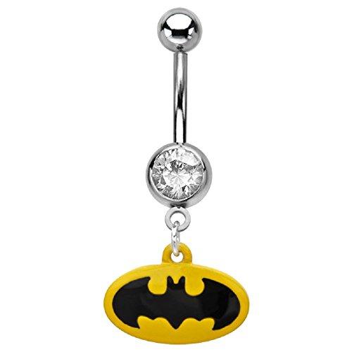 Bauchnabelpiercing Batman - Ohrstecker & Modified - Logo Bauch Ring Fledermaus hängend - Offizielles Lizenzprodukt! (Logo Fledermaus)