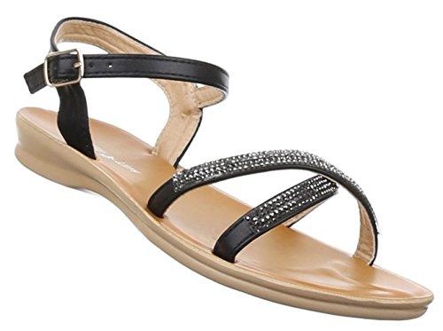 Damen Sandalen Schuhe Dianetten Strass Damenschuhe Schwarz Beige Rosa Weiss 36 37 38 39 40 41