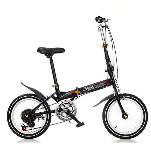CCVL Klapprad Erwachsene Kinder Ultraleicht Aluminiumlegierung Mini Tragbare Variable Speed ??Bike Geeignet Für Reisen In Der Wilden Stadt,Black,20in