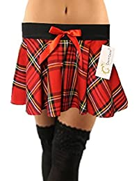 9 Inch Women's Sexy Tartan Skirt Schoolgirl Fancy Dress Costume (Red & Black)