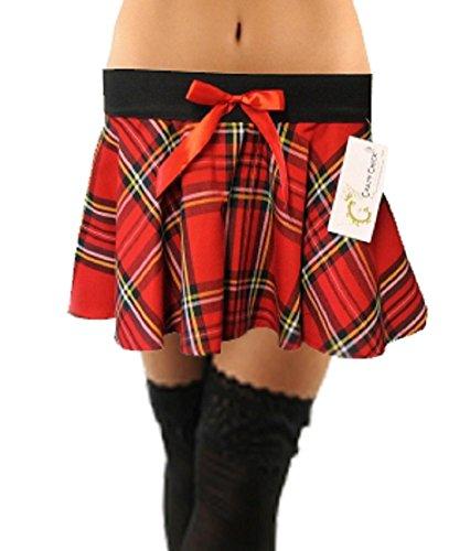 Kostüme Rock Chick (Crazy Chick Damen Rock mehrfarbig rot / schwarz Gr. Medium/Large, rot /)