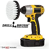 Drill Brush Power Scrubber Blanc 10cm fixation pour perceuse sans fil d'alimentation Scrubber pour le verre ameublement Couchettes Fauteuils Tapis Sièges en cuir et nettoyage Meubles...