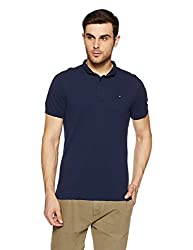 Tommy Hilfiger Mens Plain Regular Fit Polo (P8ATK168_Black Iris_Medium)