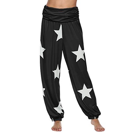 WOZOW Damen Hosen Harem Plus Size Sterne Print Muster Elastisch Falten Gefaltet Loose Long Straight Leg Casual High Waist Laufhose Trousers (XL,Schwarz) (Orange Jeans Plus Size)