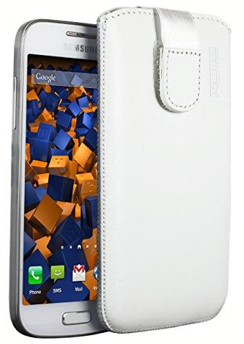 mumbi ECHT Ledertasche für Samsung Galaxy S4 mini Tasche Leder Etui (Lasche mit Rückzugfunktion Ausziehhilfe) weiss