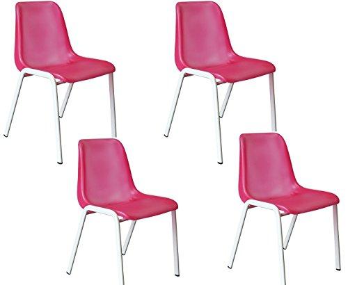 4x Besucherstuhl Küchenstuhl weiß/pink (red) Formschalenstuhl Lüllmann Stapelstuhl Warteraumstuhl Büromöbel stapelbar 230074