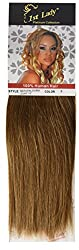 1st Lady Silky Straight Natural European Weft Human Hair Extension with Premium Blend Weave, Number 6, Chestnut Brown, 10-Inch