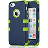 iPhone 5c Hülle, ULAK iPhone 5c Case 3 Layer Hybrid Combo Innere Weiche Silikon Hart Plastik Anti-stoß Schutzhülle Tasche Case Cover für Apple iPhone 5c (Nave blau+ Hell Grün)