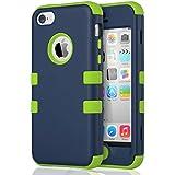 Carcasa iPhone 5c ULAK iPhone 5C caso case funda hñbrida resistente Suave TPU y de PC para Apple iPhone 5C con Protector de pantalla y Stylus (Dark Azul + Verde)