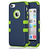 ULAK iPhone 5c Hülle, iPhone 5c Case 3 Layer Hybrid Combo Innere Weiche Silikon Hart Plastik Anti-stoß Schutzhülle Tasche Case Cover für Apple iPhone 5c (Nave blau+ Hell Grün)