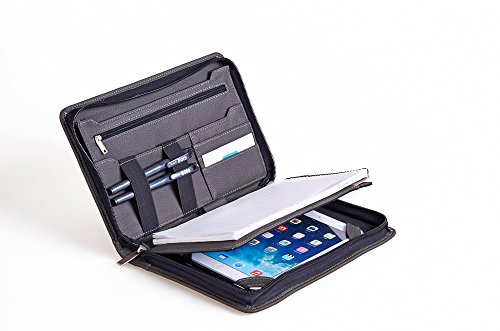 Kompakte professionelle Leder Organizer Schreibmappe für iPad Mini 4, A5 Papier,grau (Padfolio Case Für Ipad 4)