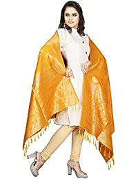 SeeMore Jacquard Tussar Silk Embellished Woven Mustard Yellow And Gold Color Dupatta