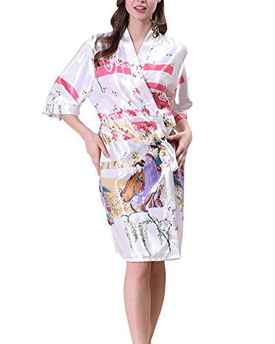 Donna Vestaglie Scollo a V Kimono Corto da Notte in Raso Con Cintura Pavone Raso Fiore Pigiama Bianco