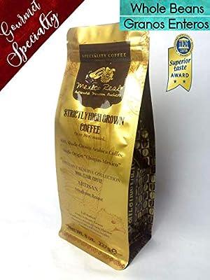 Mexico Real Cafe: Maya Elixir - Premium Mexican Coffee. Award Winning Specialty Coffee. Artisan Roast Coffee. 100% Gourmet Arabica Coffee. Notes of Blackberries and Chocolate. Whole Coffee Beans. Medium Roast. Strictly High Grown. Single Origin: Maya Bios