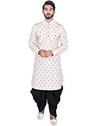 Manyavar Men's Full Sleeve Regular Fit Banded Collar Printed Pathani Kurta