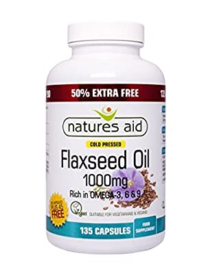 Natures Aid Flaxseed Oil 1000mg Cold Pressed 135 Caps from Natures Aid