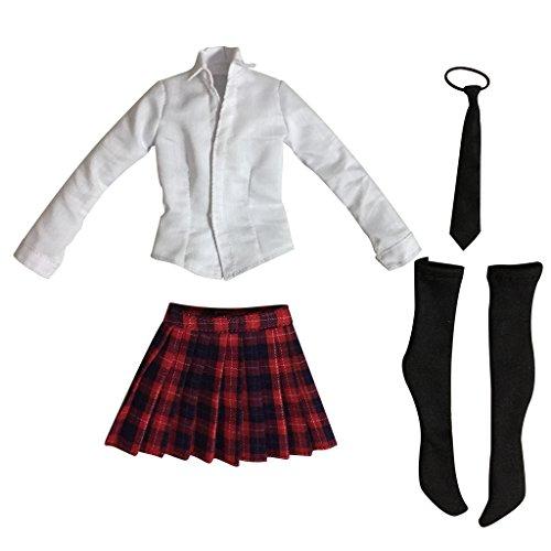 Gazechimp 1/6 Skala Weibliche Kleidung Schul Uniform - Langarm-Shirt, Plaidminirock, Krawatte & Strümpfe Set - Roter Plaid